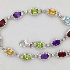 Jewelry - 925 Sterling Silver Bracelet with Natural Stones